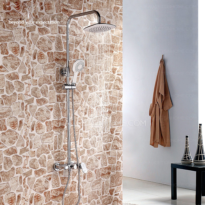 Good Wall Mount Chrome Square Shaped Modern Shower Faucet
