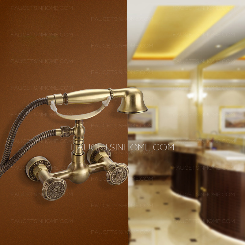 Antique Telephone Shaped Polished Brass Simple Shower Faucet