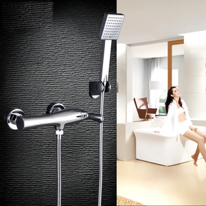 Simple Chrome Brass Wall Mount Shower Faucet Bathroom