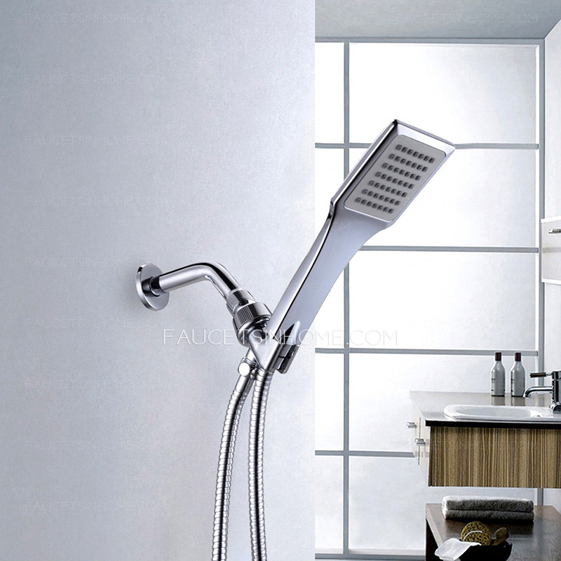Simple Brass Chrome Wall Mounted Hand Shower Faucet