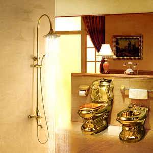 Luxury Gold Polished Brass Wall Mounted Outdoor Shower Hardware