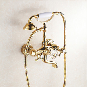Luxury Polished Brass High Pressure Hand Held Shower Faucet