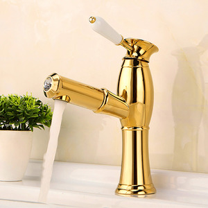 Modern Polished Brass Bathroom Sink Faucet With Pullout Spray
