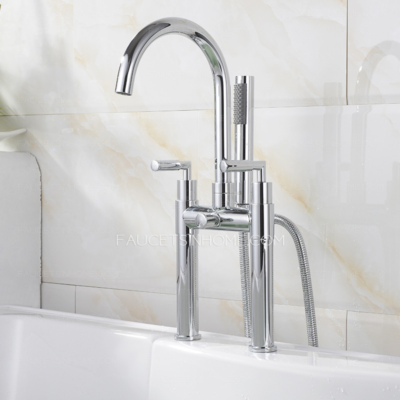 Double Hand Hightened Water Outlet Brass Bathtub Faucet