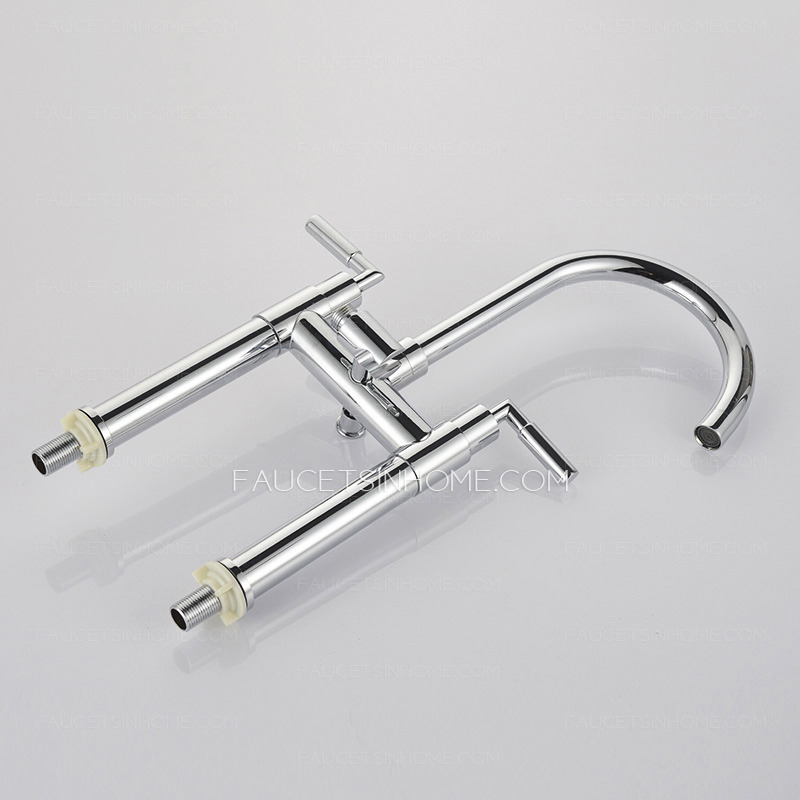 Double-Hand Hightened Water Outlet Brass Bathtub Faucet