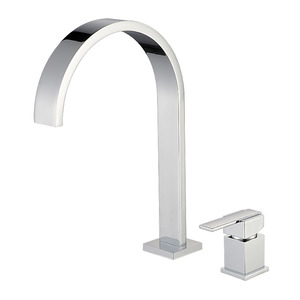 Brass Modern Waterfall Square Handle Bathroom Faucet Set