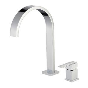 Brass Modern Waterfall Square Handle Bathroom Faucet Set