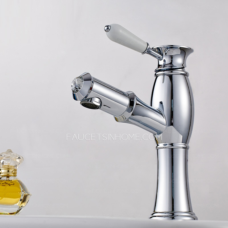 Upgraded Single Hole Pullout Silver Chrome Bathroom Faucet