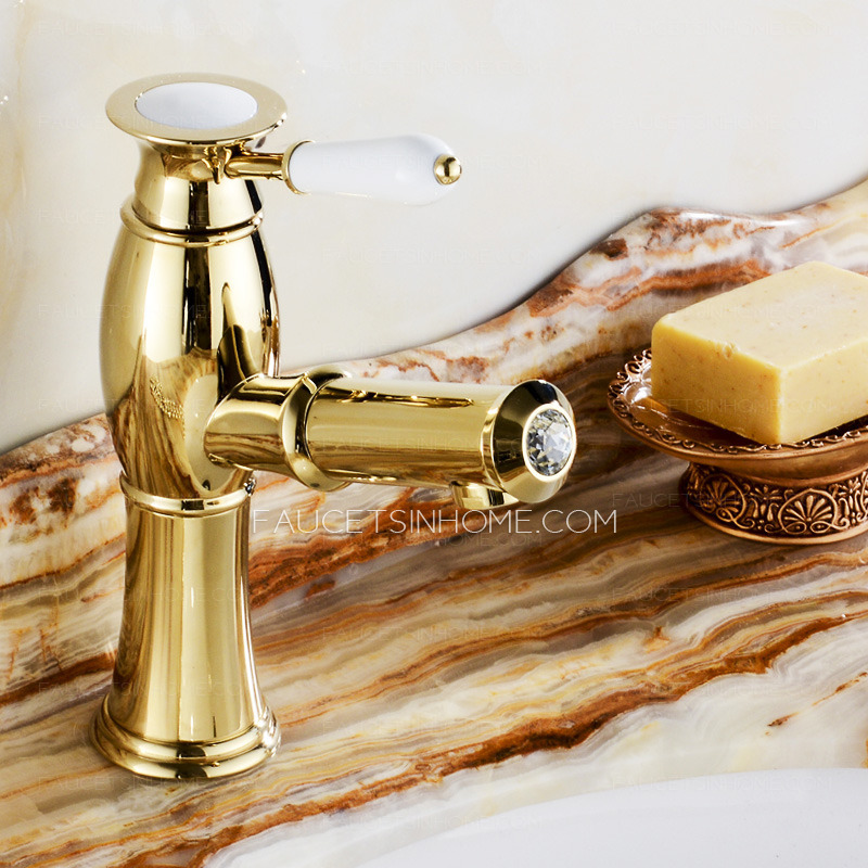 High End Luxury Gold Brass Pull Out Bathroom Faucet