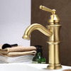 One Hole Bathroom Faucet Polished Brass Finish High Quality