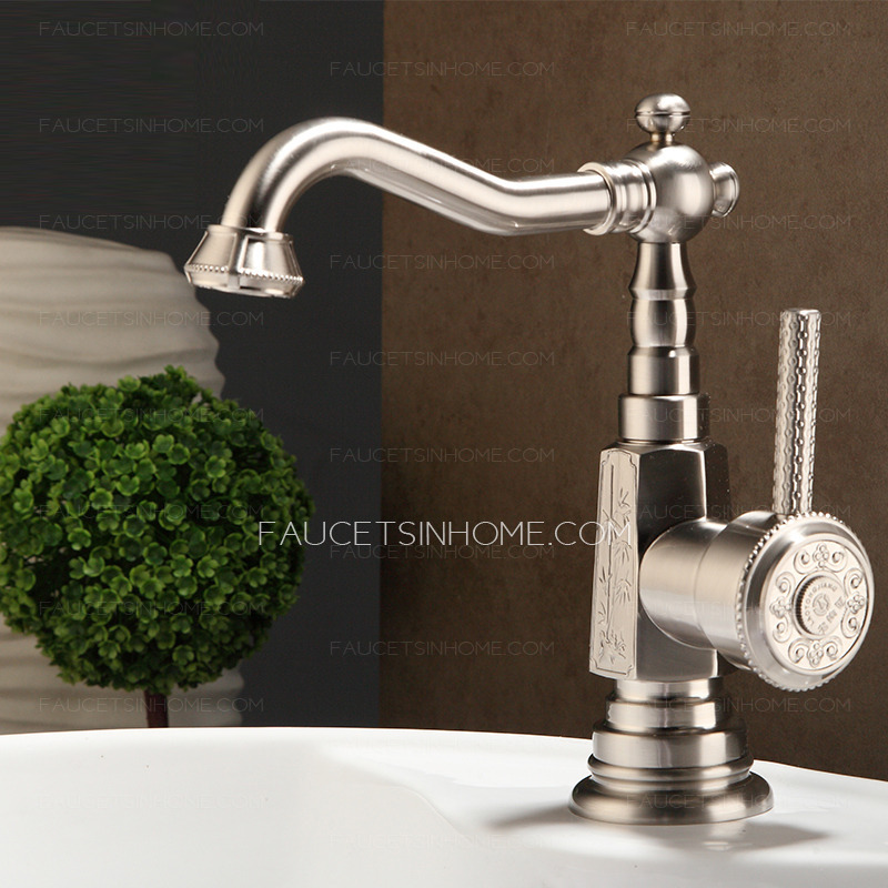 Nickle Brushed Single Hole Short Brass Silver Bathroom Faucet