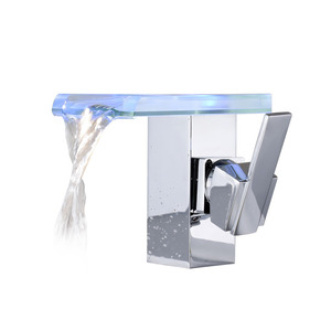 Waterfall Bathroom Sink Faucet Brass Cool LED Contemporary Thermostatic