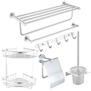 Modern High Quality Aluminum 6-piece Bathroom Accessory Sets