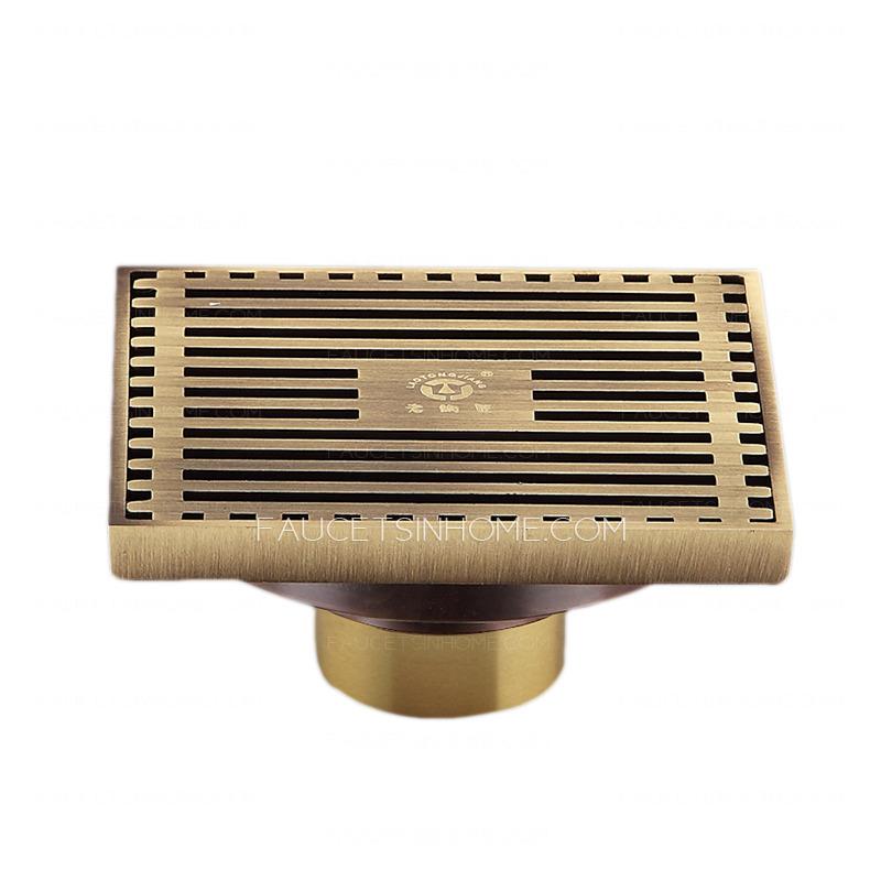 Antique Brass T-Shaped Bathroom Shower Drains