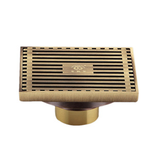 Antique Brass T-Shaped Bathroom Shower Drains