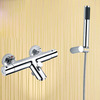 Modern Thermostatic Chrome Wall Mounted Handheld Bathtub Shower Faucets