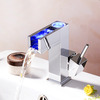 Modern LED Single Handle Chrome Square Waterfall Bathroom Sink Faucet