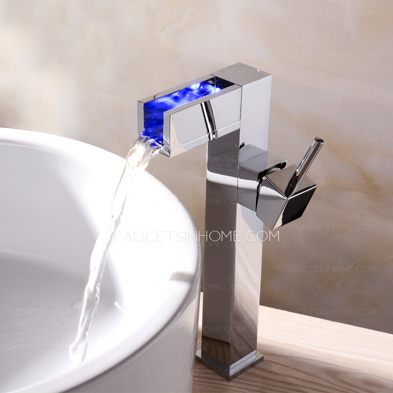 Silver Chrome Square LED Brass Waterfall Sink Faucets For Bathroom