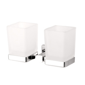 Modern Chrome Double Cups Wall Mounted Toothbrush Holder