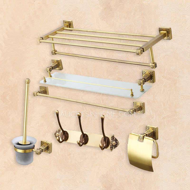 Antique 6-Pieces Bronze Brass Wall Mounted Bathroom Accessory Set