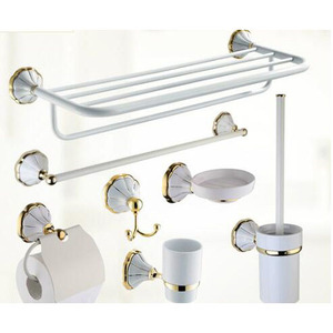 European Antique White Ceramic Wall Mounted Bathroom Accessory Set