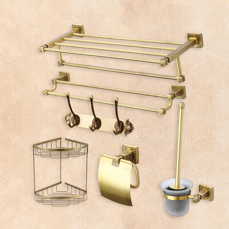 Wholesale 6 Pieces Antique Brass Wall Mounted Bathroom Accessory Set