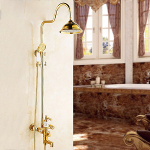 European Natural Jade Electroplated Brass Gold Shower Fixture For Bathroom