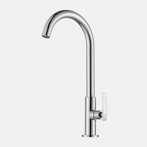Modern Chrome Single Handle Gooseneck Kitchen Sink Faucet