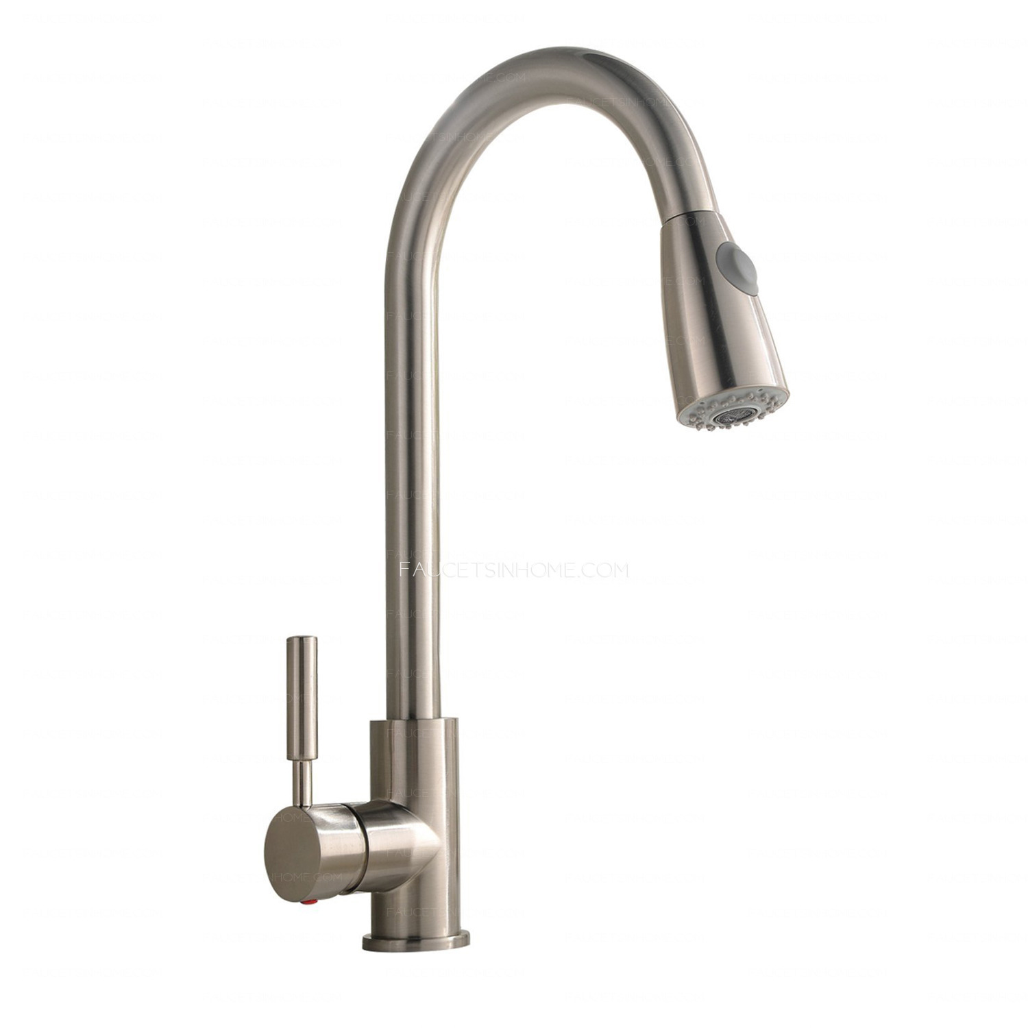 Brushed Nickel Rotatable Brass Pull Down Commercial Kitchen Faucet With Sprayer